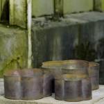 KATRINE - Rustic brown bølgekrukke sæt med tre